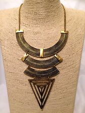 Womens STATEMENT Long Gold Bib Collar Chain Necklace Big Large Chunky TRIBAL