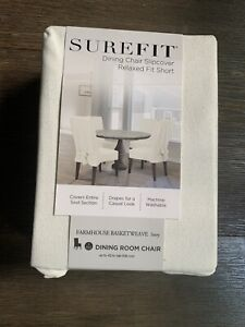 SureFit Short Ivory Dining Chair Slipcover Relaxed Fit One Piece