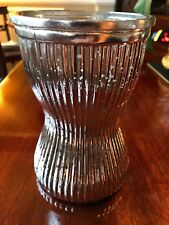METALLIC MIRRORED SILVER MERCURY EFFECT CRACKLE RIBBED VASE ORNAMENT