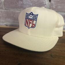 Vtg NFL Logo Hat Cap Snapback Football AJD Made In USA Cream