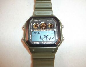 Modified Casio AE-1300WH with Green Case and Strap and Orange and Blue Display