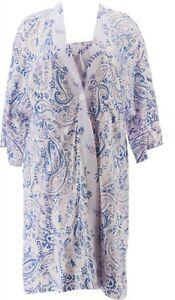 Carole Hochman Cotton Button Front Kimono Chemise Set Purple 1X NEW A373461