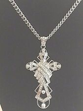 Celtic Cross Wrapped in Multi Paved CZ Stainless Steel Pendant Iced-out Bling
