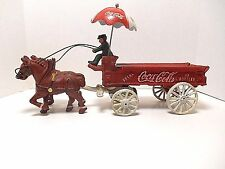 Cast Iron Horse Drawn Coca Cola Cart Wagon w/ Umbrella