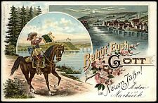Behüt' Euch Gott im Neuen Jahr - TROMPETER VON SÄCKINGEN - Farblitho-AK 1899 TOP