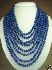 Fashion 8 rows Charming 6mm blue lapis lazuli beads necklace