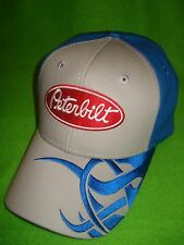 PETERBILT HAT          MEDIUM GREY / BRIGHT BLUE WAVE PETERBILT TRUCKERS CAP