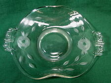 Etched Glass Flower Crystal Open Candy Dish Vintage