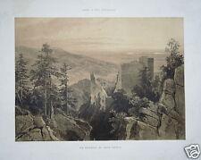 Antiguo castillo de Baden-Baden vieja Litografia Cattier 1848