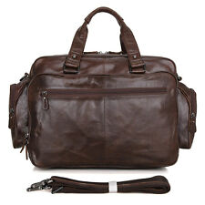 "Men's Real Brown Leather Briefcase 15.5"" Laptop Case Shoulder Bag Tote Business"