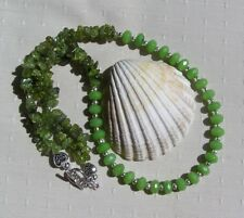 """Green Peridot Crystal Gemstone Statement Necklace """"Forest Falls"""""""