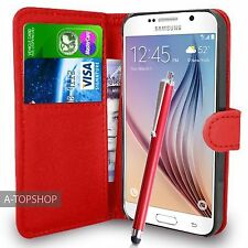 Red Wallet Case PU Leather Book Cover For Samsung Galaxy S6 G920 Mobile Phone