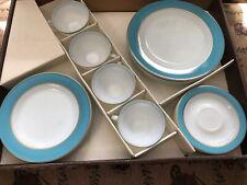 Vintage Pyrex Dinnerware Turquoise Gold Trim 4 Place Settings W Original Box
