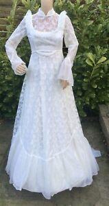 Vintage 70's  Wedding Dress Prairie Edwardian White . Lace Ruffles Train 6