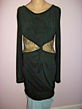 Va Va Voom Sexy Black and  Metallic  Gold Sequin Lace Knee Length Dress-Size M