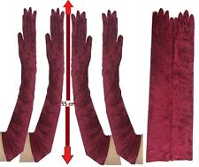 Long Velvet Elbow Length Maroon Gloves 1920s Flapper Ladies Fancy Dress Bulk Lot