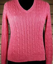 JONES NEW YORK Womens Pink 100% Mercerized Cotton Cable Knit Sweater Size PM