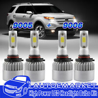 4 PCS 9005 9006 LED Headlight Kit For Chevy Silverado Tahoe 1999-2006 Hi/Lo Beam