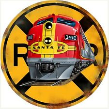 SANTA FE RAILROAD METAL SIGN / Railroad Crossing / Vintage Look Wall Decoration