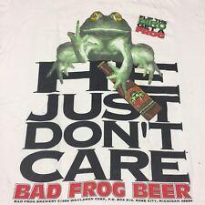 Vintage Trashed Bad Frog Beer XL 2-Sided T-Shirt Bar Michigan Pub Finger Band