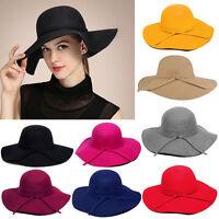 Women's Vintage Fashion Wide Brim Floppy Wool Felt Bowler Fedora Hat Bow Cap