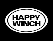 """HAPPY WINCH EURO STYLE VINYL DECAL WHITE 3"""" X 5"""" MANY COLORS AVAIL JDM FUNNY"""