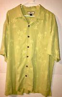 Tommy Bahama Camp Shirt Mens L Green 100% Silk Short Sleeve Palm Tree Hawaiian