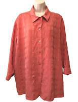 Joanna Women's Blouse Plus 3X Long Sleeve Texture Button Down Shirt
