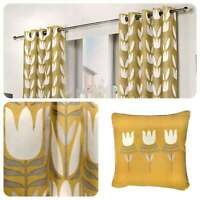 Fusion HALDON Eyelet Curtains Yellow Ochre Mustard Tulip Floral Ready Made Lined