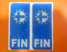 2x3D Sticker Resin Domed Euro FINLAND Number Plate with Flag Car Badge Adhesive