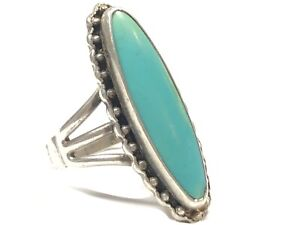 Vintage Ladies Sterling Silver Turquoise Ring - Size 7
