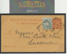 MS2157 1897 Italia cartolina up-rated SVIZZERA * Thomas Cook * Message in avanti