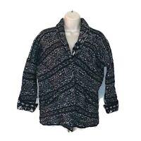 Free People Size S Chunky Cardigan Sweater Wool Blend Long Sleeve Black Grey