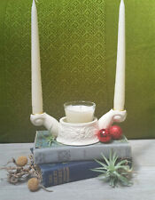 Lennox candle holder, ivory porcelain, 2 tapers, 1 pillar, vintage beauty