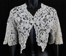 New listing Victorian White Brussels Duchesse Honiton Bobbin Lace Shrug Spencer Jacket Vtg