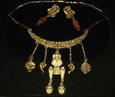 Goldette signed Vintage Necklace & Earrings Egyptian Revival Dangling Scarab Set