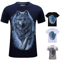 Summer Mens 3D Printed Short Sleeve T-shirt Casual Crew Neck Tee Tops Plus Size