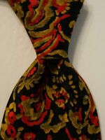 SANTOSTEFANO Men's 100% Silk Necktie ITALY Luxury Geometric Black/Yellow/Red EUC
