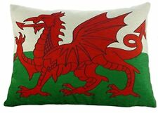 Wales Flag Welsh Dragon Quality Chenille Cushion made in UK by Evans Lichfield