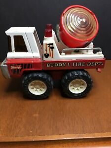 Buddy L Fire Dept Truck with Spot Light Pressed Steel Vintage