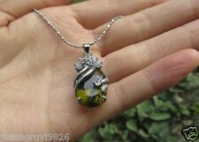 Beautiful Noble Exquisite Silver Peridot Oval Silver Pendant with Necklace Chain