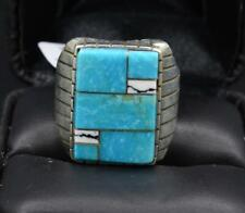 Navajo Handmade Multi-Turquoise Inlay Mens Ring with Sterling Silver by RAY JACK