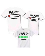 T-shirt di famiglia mamma papà figlia batteria loading divertente bimba genitori
