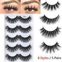 5 Pairs Fashion 3D Faux Mink Hair False Eyelashes Cross Wispy Fluffy Lashes