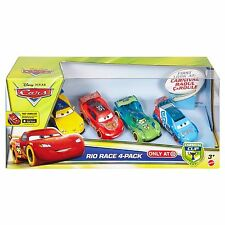 Disney Cars Carnival Cup Rio Race 4 Pack Raoul CaRoule McQueen Carla Jeff NEW