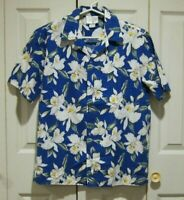 HOWIE Mens Hawaiian Shirt Button Front Blue with White Flowers USA 100% Cotton M