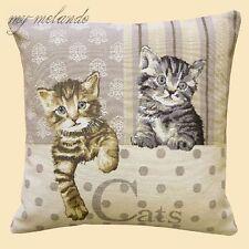 Gobelin Kissenhülle Dekokissen gewebt süße Katzen Katze getigert bunt 40x40 NEU
