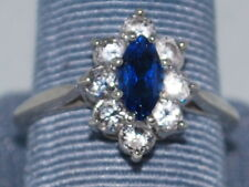 10k White gold ring with Blue Sapphire(September birthstone) and CZ