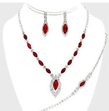 Red Silver Crystal Rhinestone Formal Necklace Jewelry Wedding Set Earring Bridal