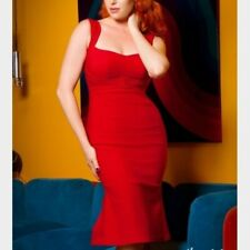 PINUP COUTURE JESSICA RED WIGGLE DRESS - RARE XS - retro sexy bombshell